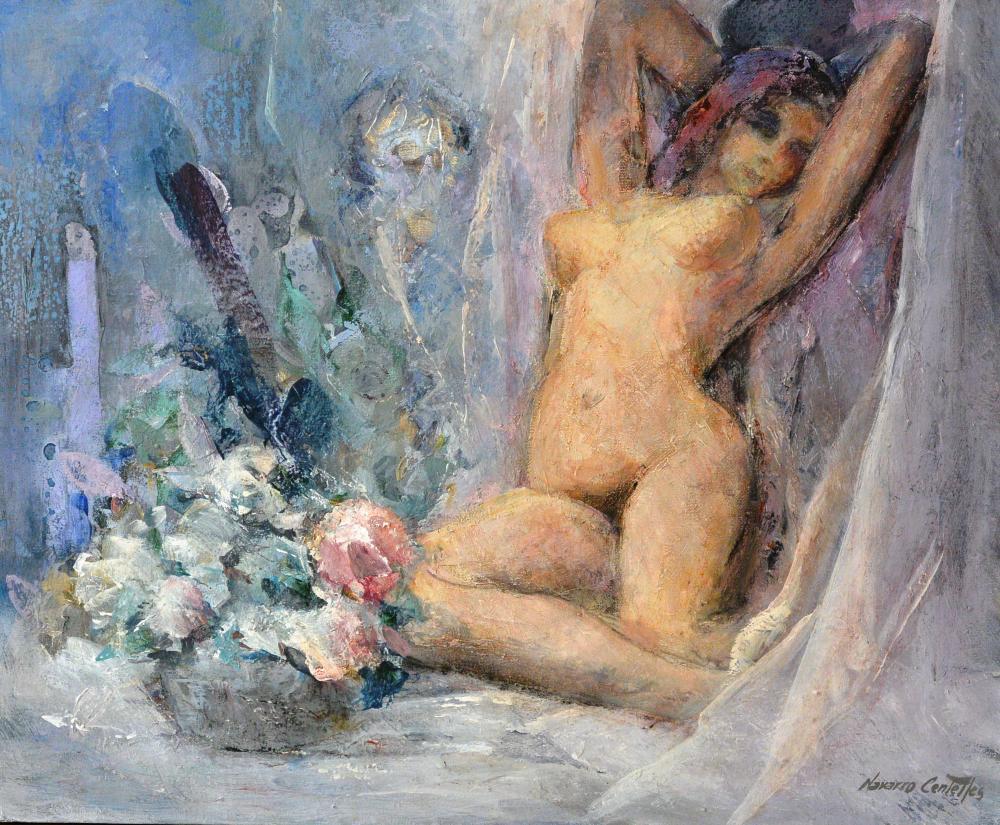 104.Desnudo con flores (61x50)