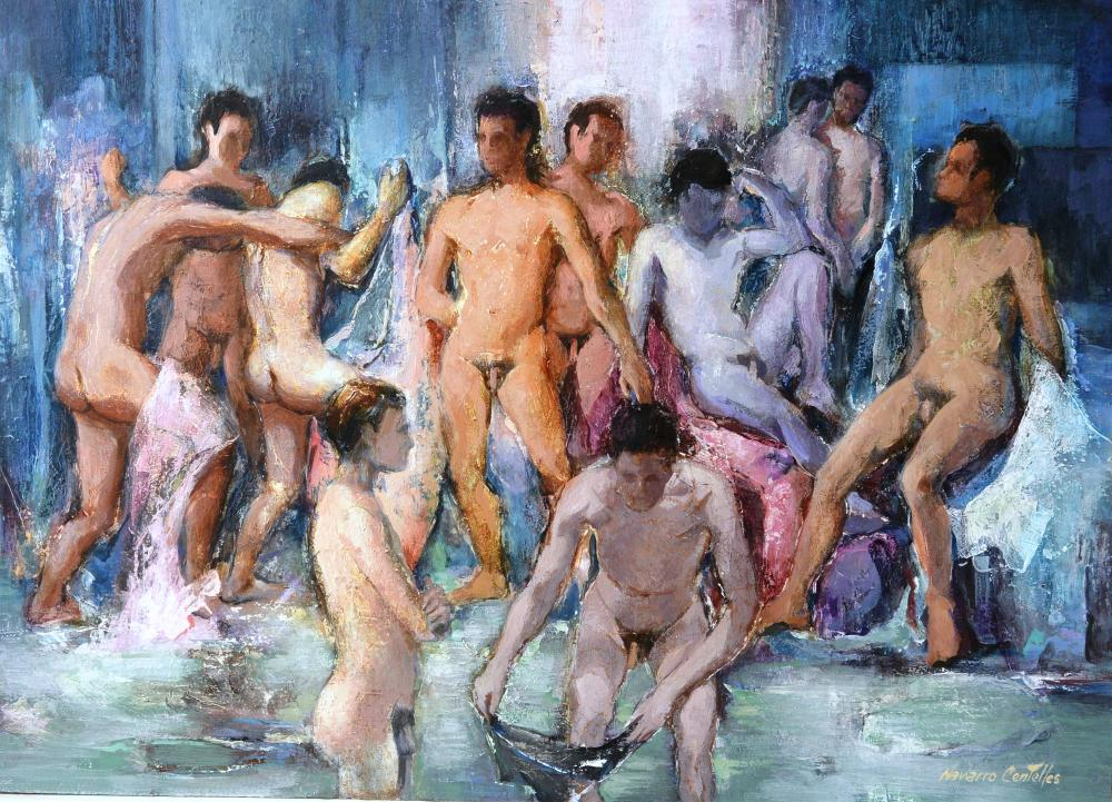 289.Reunión de hombres (85x61)-tabla