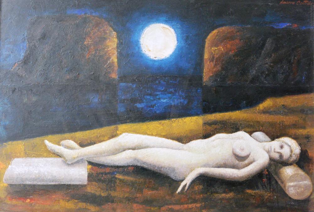 293.Mujer a la luna (122x84)-tabla