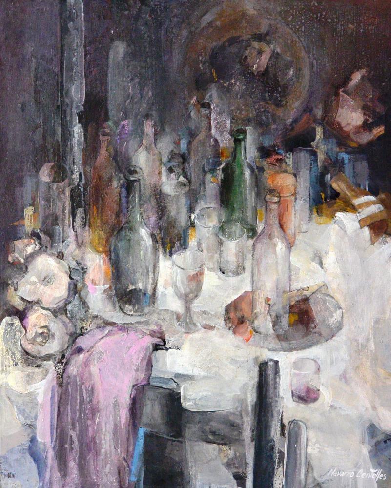 56.Los vidrios en la mesa. (81x65)